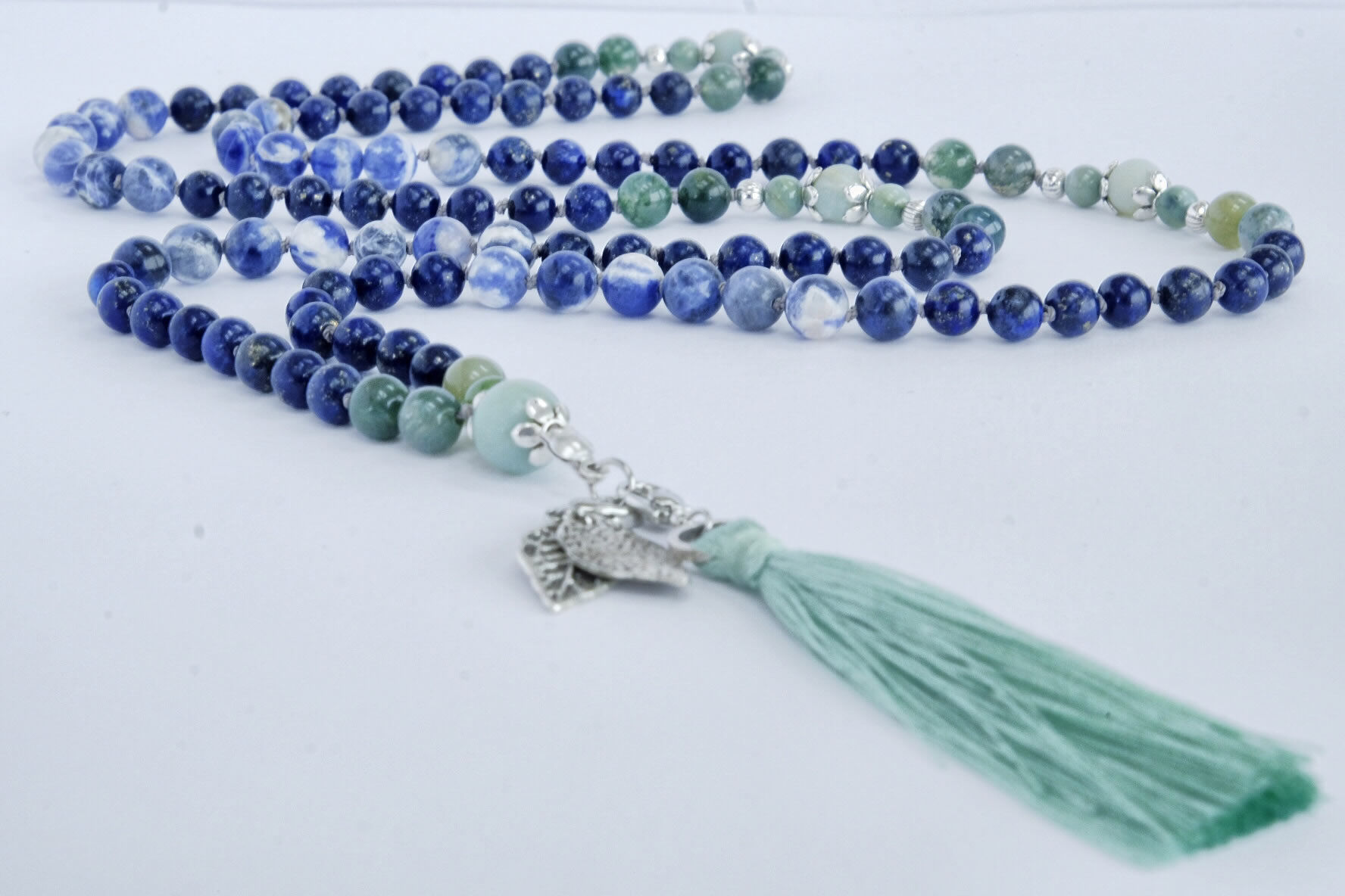 Handmade Mala Yoga Blue Green