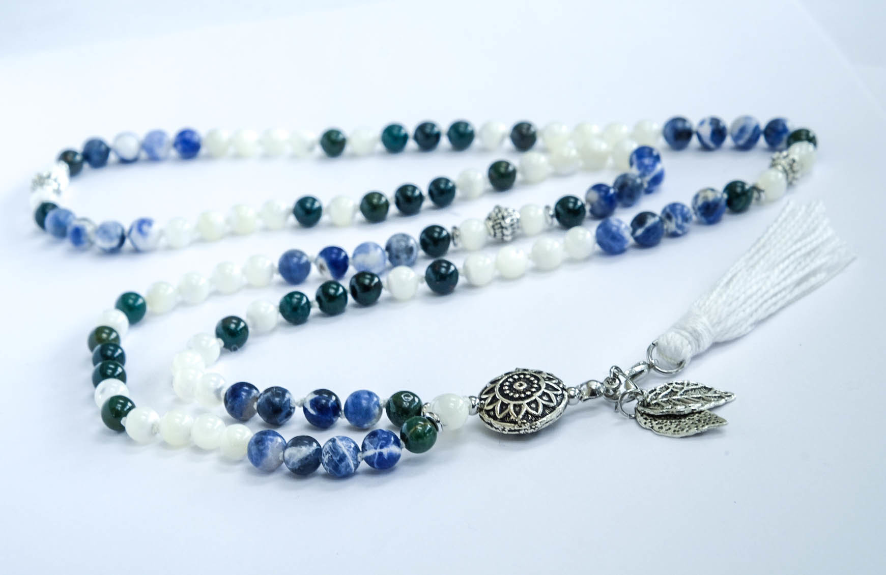 Handmade Mala Yoga Blue White